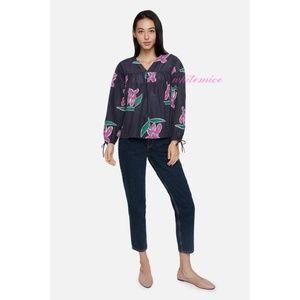 Tucker NYC hibiscus print peasant blouse